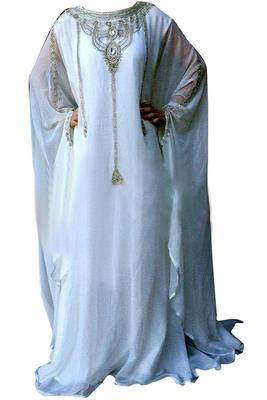 White Zari Stone Work Georgette Islamic Style Beads Embedded PartyWear Farasha