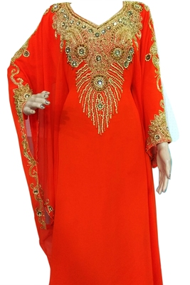 Orange Zari Stone Work Georgette Islamic Style Beads Embedded PartyWear Farasha