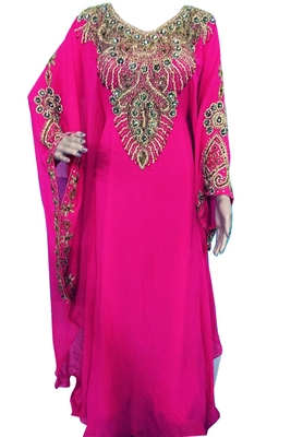 Pink Zari Stone Work Georgette Islamic Style Beads Embedded PartyWear Farasha