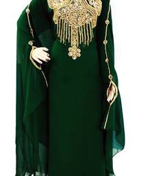 Green Zari Stone Work Georgette Islamic Style Beads Embedded PartyWear Farasha