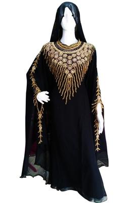 Black Zari Stone Work Georgette Islamic Style Beads Embedded PartyWear Kaftan