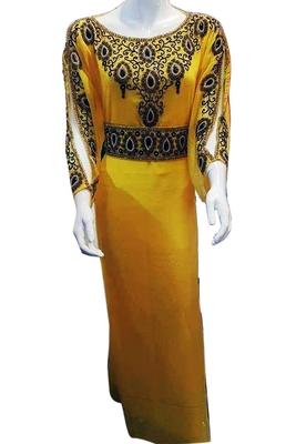 Yellow Zari Stone Work Georgette Islamic Style Beads Embedded PartyWear Kaftan