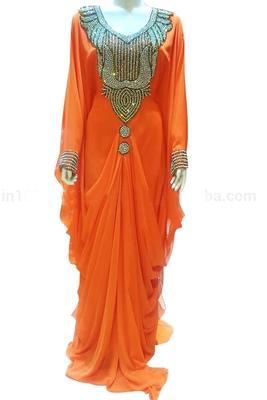 Orange Zari Stone Work Georgette Islamic Style Beads Embedded PartyWear Farasha