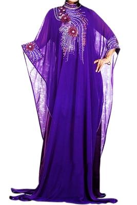 Purple Zari Stone Work Georgette Islamic Style Beads Embedded PartyWear Farasha