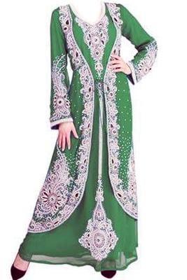 Green Zari Stone Work Georgette Islamic Style Beads Embedded PartyWear Kaftan
