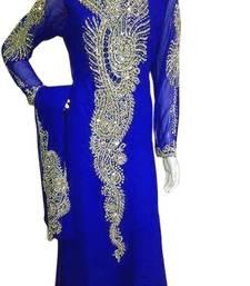 Buy Blue Zari Stone Work Georgette Islamic Style Beads Embedded PartyWear Abaya islamic-kaftan online