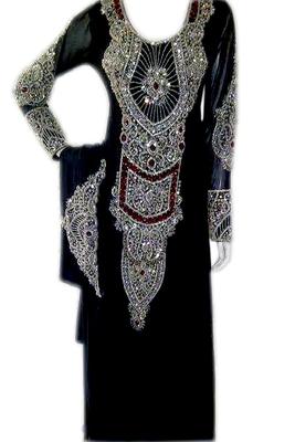 Black Zari Stone Work Georgette Islamic Style Beads Embedded PartyWear Farasha