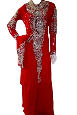 Red Zari Stone Work Georgette Islamic Style Beads Embedded PartyWear Kaftan