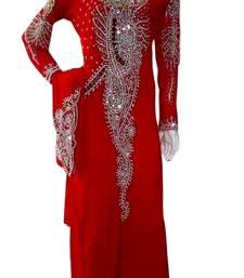 Red Zari Stone Work Georgette Islamic Style Beads Embedded PartyWear Kaftan