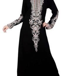 Buy Black Zari Stone Work Georgette Islamic Style Beads Embedded PartyWear Farasha farasha online