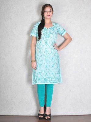 Sky blue embroidered cotton kurtas-and-kurtis