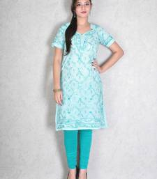 Sky blue embroidered cotton kurtas-and-kurtis