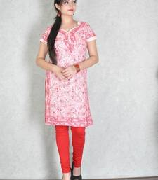 Light peach embroidered cotton kurtas-and-kurtis