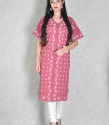 Wine embroidered cotton kurtas-and-kurtis