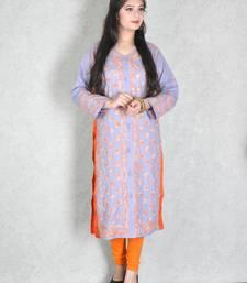 Lavender embroidered cotton kurtas-and-kurtis