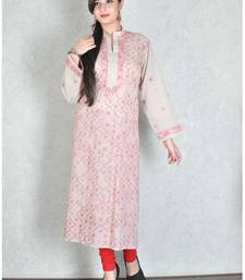 Grey embroidered cotton kurtas-and-kurtis