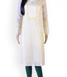 Off-white embroidered cotton kurtas-and-kurtis