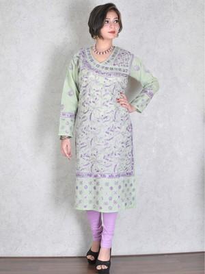 Light green embroidered cotton kurtas-and-kurtis