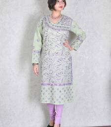 Light green embroidered cotton kurtas-and-kurtis