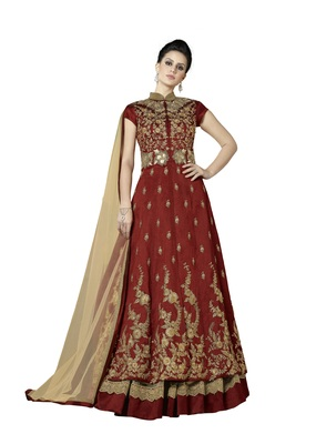 Maroon self design art silk Anarkali Lehenga
