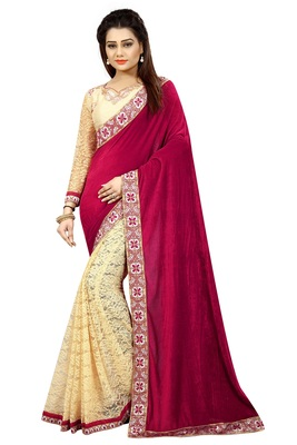 Maroon hand woven velvet saree with blouse