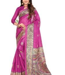 Buy Pink printed khadi saree with blouse