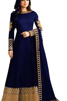 296c163dd4a Blue embroidered silk Anarkali Suit