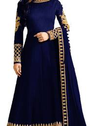 Blue embroidered silk Anarkali Suit