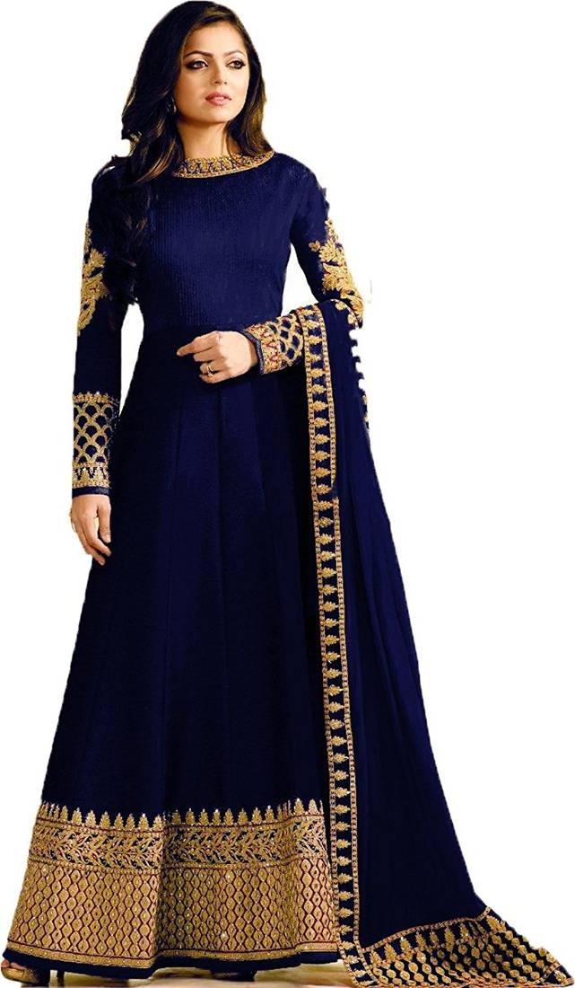 0c161ce516 Blue embroidered silk Anarkali Suit Blue embroidered silk Anarkali Suit