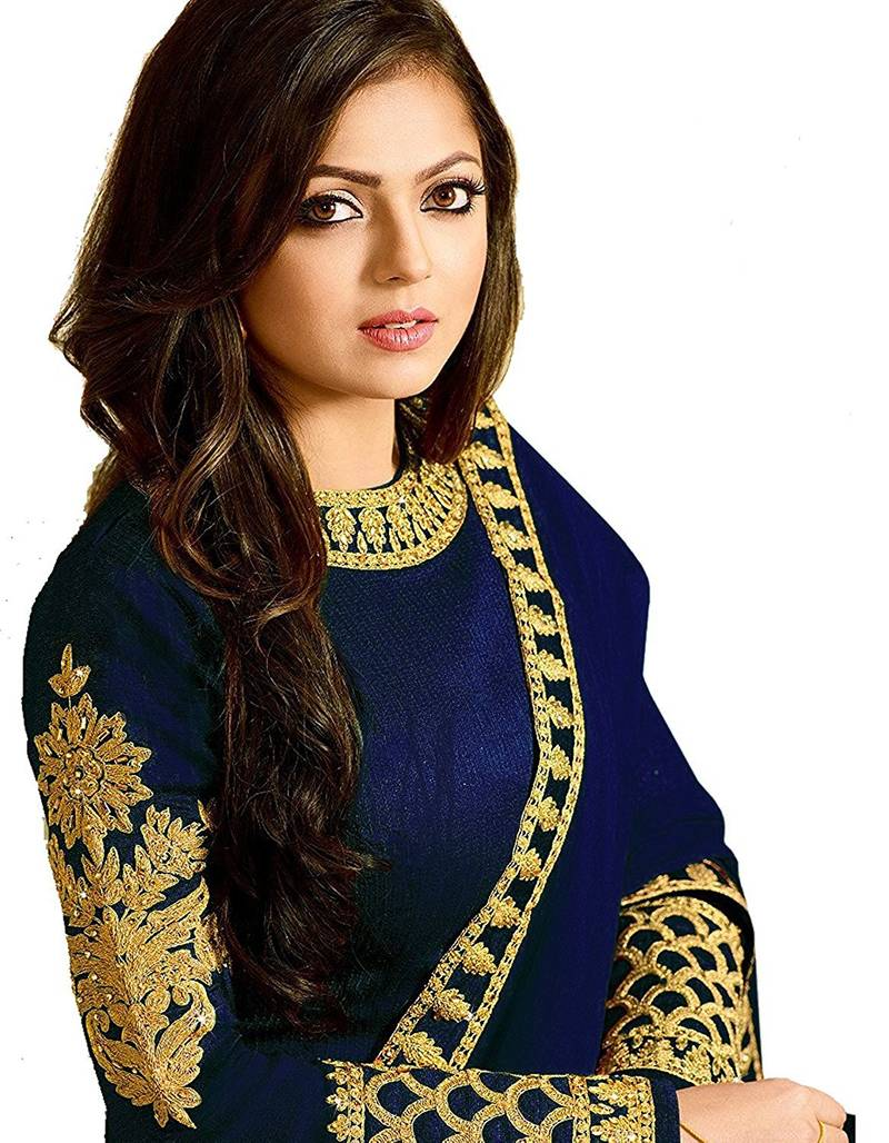 ba5eea71d6 Blue embroidered silk Anarkali Suit - Stylefabs - 2492539