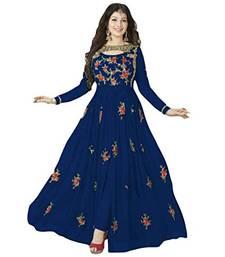 Buy Blue embroidered georgette semi-stitched anarkali dress with dupatta anarkali-salwar-kameez online