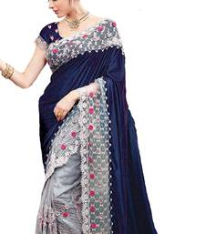Buy Blue embroidered nylon saree with blouse bridal-saree online