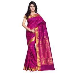 Buy Dark pink woven pure banarasi silk saree with blouse banarasi-silk-saree online