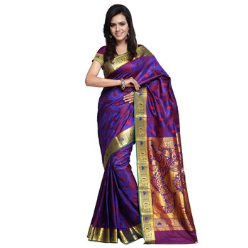 f45f837f61e4da Dark purple woven pure banarasi silk saree with blouse - weaver2buyer -  2492602