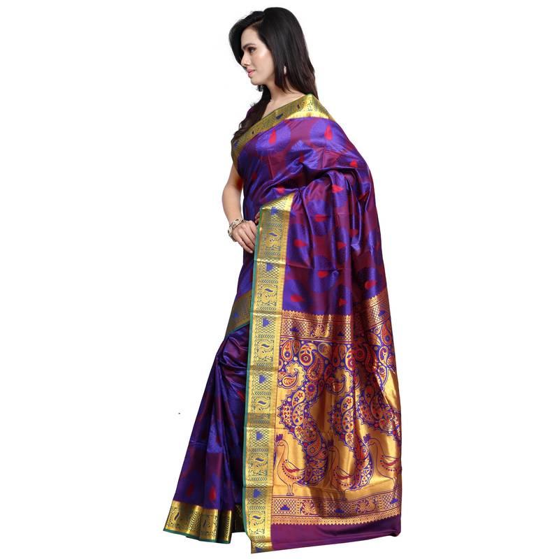 38797797d0 Dark purple woven pure banarasi silk saree with blouse ...