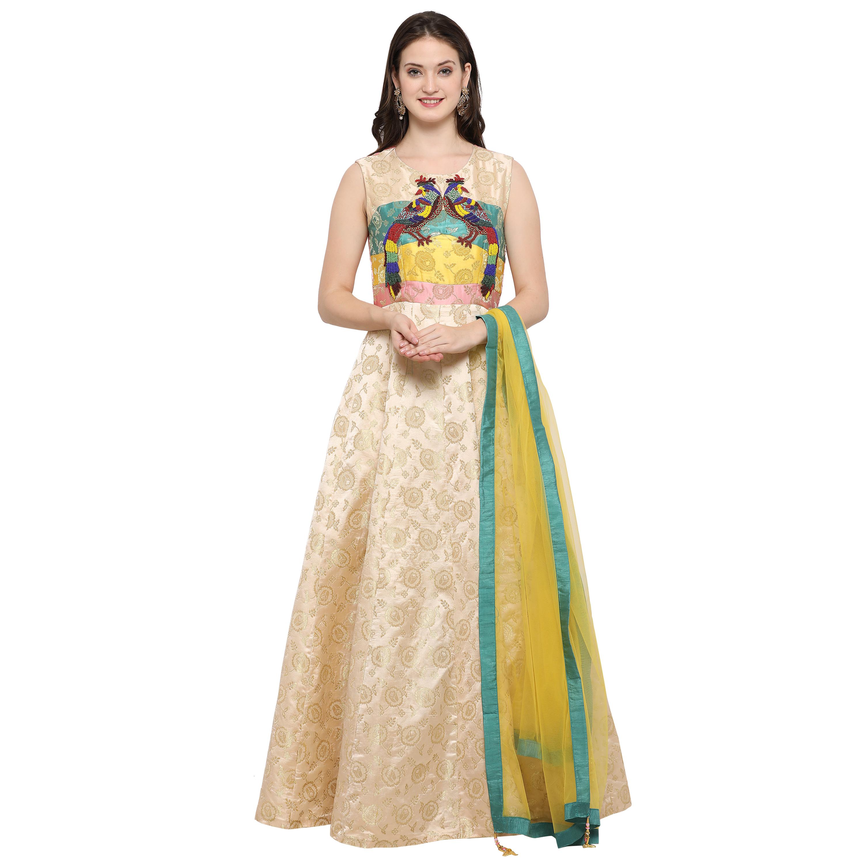 5ea399db4e Cream hand work silk semi stitched salwar with dupatta - AMORE - 2493053