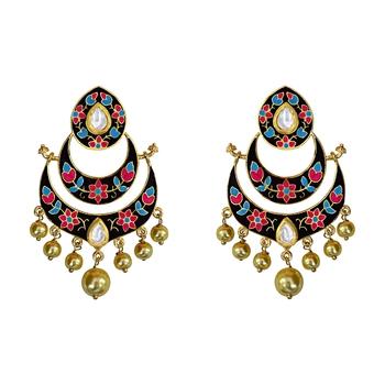 Meenakari Kundan Double Layer Gold Plated Brass Chaand Bali Jhumka Fashion Earring Set For Women