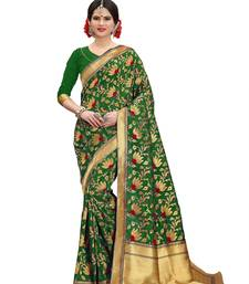 Mehendi woven banarasi saree with blouse