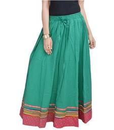 Buy Green Pure Cotton skirts skirt online