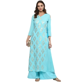 Sky Blue Colour Flared Crepe Gold Foil Print Kurta & Palazzo Set
