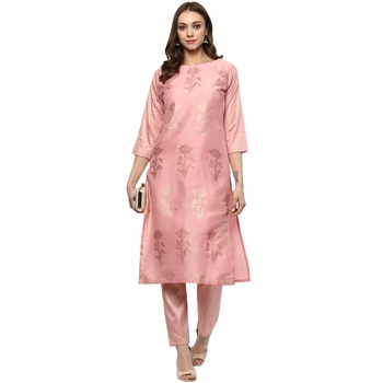Pink Colour Straight polysilk Gold Foil Print Kurta & Pant Set