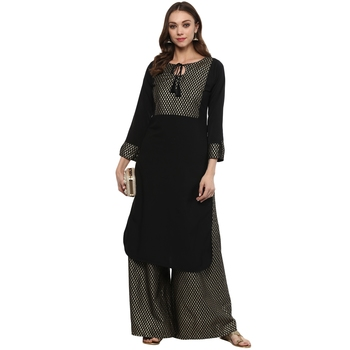 Black Colour Straight Crepe Gold Foil Print Kurta & Palazzo Set