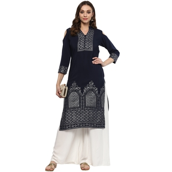 Blue Colour Straight Crepe Silver Foil Print Kurta & Palazzo Set