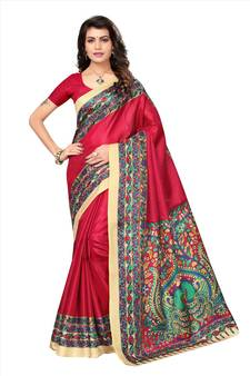 e451f27a6b8 Red printed art silk saree with blouse