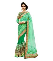 Buy Green embroidered georgette saree with blouse heavy-work-saree online