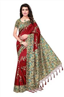 7f15bf82d06aa Red printed tussar silk saree with blouse. Shop Now