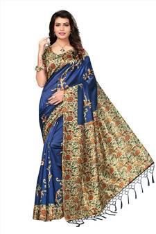 0f2a86a2228 Blue printed tussar silk saree with blouse