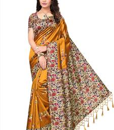 Buy Yellow printed tussar silk saree with blouse below-500 online