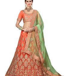 Buy Orange embroidered net unstitched lehenga lehenga-choli online