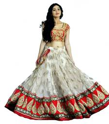 Buy White embroidered net unstitched wedding lehenga with blouse lehenga-choli online